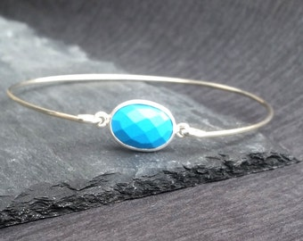Natural Turquoise Gemstone & Sterling Silver Bangle Bracelet   Turquoise Jewelry, December Birthday Gift, December Birthstone Bangle