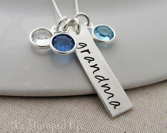 Hand Stamped Charm With Mom, Mother, Nana or Grandma, Personalized Name Necklace With Birthstones