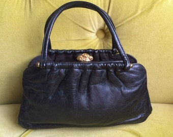 Vintage Genuine Leather Handbag Black Purse Gold Rose Clasp Small Bag Black Leather Vintage Clutch 1950s 1960s Muti Pockets Top Handle Purse