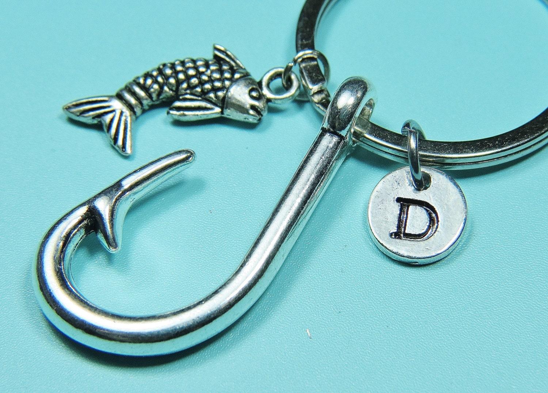 Fish hook keychain initial keychain silver by miniaturebynan for Fish hook keychain