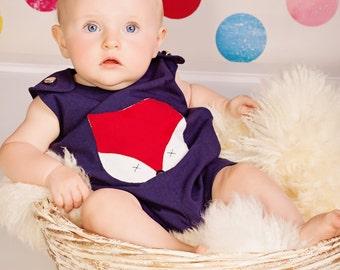 Barboteuse bébé renard, 100 % coton, fait à la main, garçons, filles, l'été, enfant, vêtements, enfants, Jon Jon, enfants, enfant en bas âge, mignon, 6 mois à 6 ans