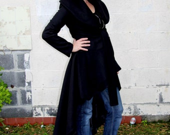SALS 40% OFFWomen long coat, wool coat, wrap coat, black maxi coat, assymetrical coat, womens coat