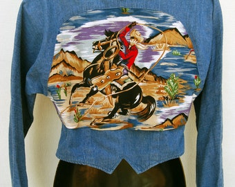 Vtg Womens 80s Rodeo 2 Sided Crop Jacket Denim Cowboy Western Top Chambray Top S Rockabilly Clothing