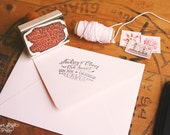 "Calligraphy-inspired Return Address Stamp - Hand Drawn Stamp for Wedding Invitations and Save the Dates - 2.5"" x 1.5"" - Audrey"