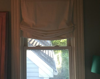Childsafe Custom Relaxed Roman Shade - Solid white linen, traversing clutch system,custom DO NOT PURCHASE listing