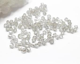 4mm Crystal Silver Shade Swarovski Crystal  Bicones 12pcs