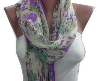 Floral Scarf Shawl Pareo Soft Cotton Infinity Scarf Lilac Summer Scarf Lavender Scarf Women Fashion Accessories Christmas Gifts For Her