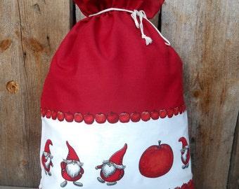 Santa Sack Swedish Christmas Gift Wrap Scandinavian Christmas Gift Bag Gnome Fabric Tomte Nisse Holiday Gift Bag Christmas Sack