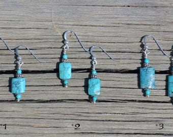 Rectangular Turquoise Earrings, beaded with Bali and Sterling silver (Choice of 1 striking pair)