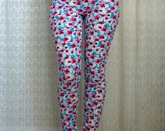 Flower Leggings, Blue Yoga Leggings, Floral Leggings, Blue Pink White, Printed Leggings, Patterned Leggings Workout Pants Cute Tights