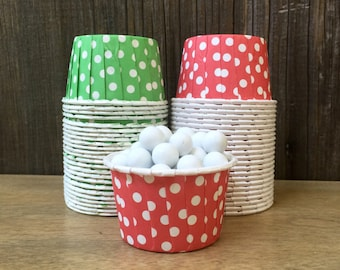 Red and Green Dot Candy Cups--Red Nut Cups--Christmas--Holiday Party-- Birthday Party--Holiday baking--24 or 48 Cups