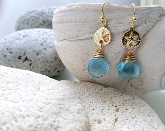 Aquamarine quartz Earrings 14k gold filled Sand dollar Earrings Aquamarine Quartz Jewelry Sanddollar Earrings Beach Wedding march birthstone