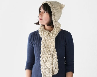 Knit Hooded Scarf with Cat Ears - Knitted Scoodie - Winter Hoodie in Tan | The Pluto Scarf |