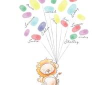 Baby Shower Fingerprint Balloons  - Lion Baby Shower Print - Baby Shower Keepsake - Baby Shower Activity - Lion Nursery Art
