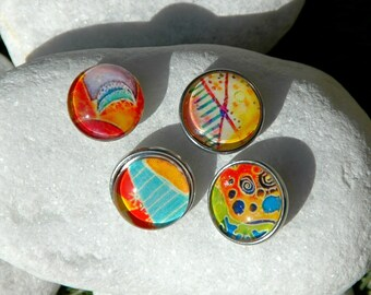 Colorful Abstract Pattern Snap Jewelry Button Interchangeable Jewelry Noosa Style Snap Charm Chunk Popper Snap. The Price is for one unit.