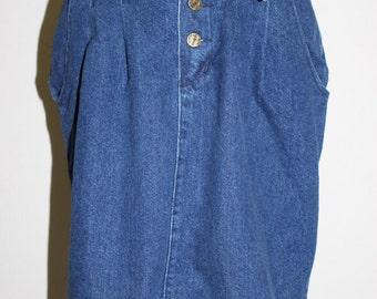 vintage denim fold over waist skirt/landing gear pleated denim skirt/unique high waisted denim skirt