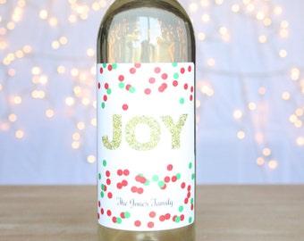 JOY Gold Glitter Christmas Wine Label Holiday Wine Labels Glittery Gold Christmas Stickers Red Green Confetti Custom Wine Gifts Personalized