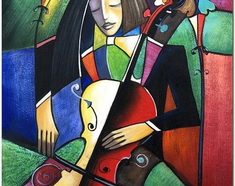 The Cellist Portrait - Hand Painted Cubist Painting On Canvas Art Musician Violin Cello CERTIFICATE INCLUDED