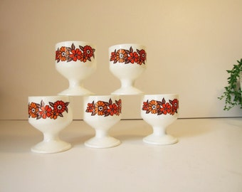 Made in Germany five egg cups vintage // 70s eggcups melamine// retro egg cups