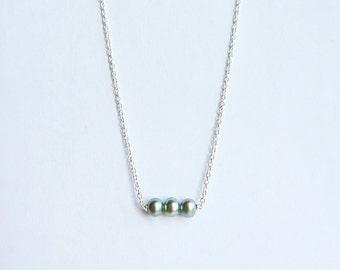 Délicat collier argent et perles d'eau douce - Three Freshwater Pearl Necklace - Handmade Sterling Silver Necklace