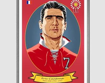 ERIC CANTONA (Manchester United) Portrait Art Print