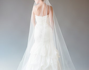Mantilla Veil with No Lace, Cathedral Veil, Chapel Veil, Wedding Veil, Cascade Veil, Single Tier Veil, STYLE: MIA