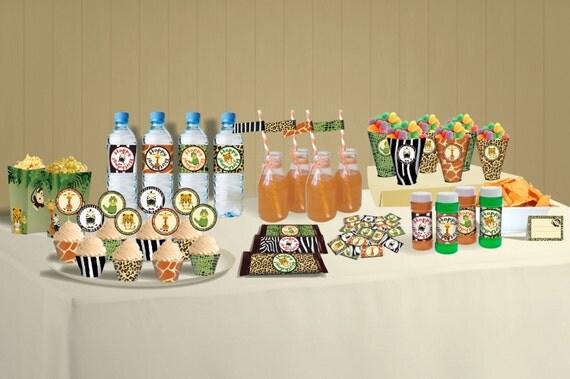 Safari Party Theme Food Decoration Jungle DIY Printables Package