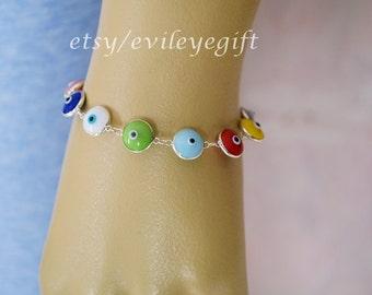 Multi-Color Evil Eye Bracelet 925 Sterling Silver, Turkish Evil Eye, Greek Evil Eye, Evil Eye Turkey, Arrives in white gift box!