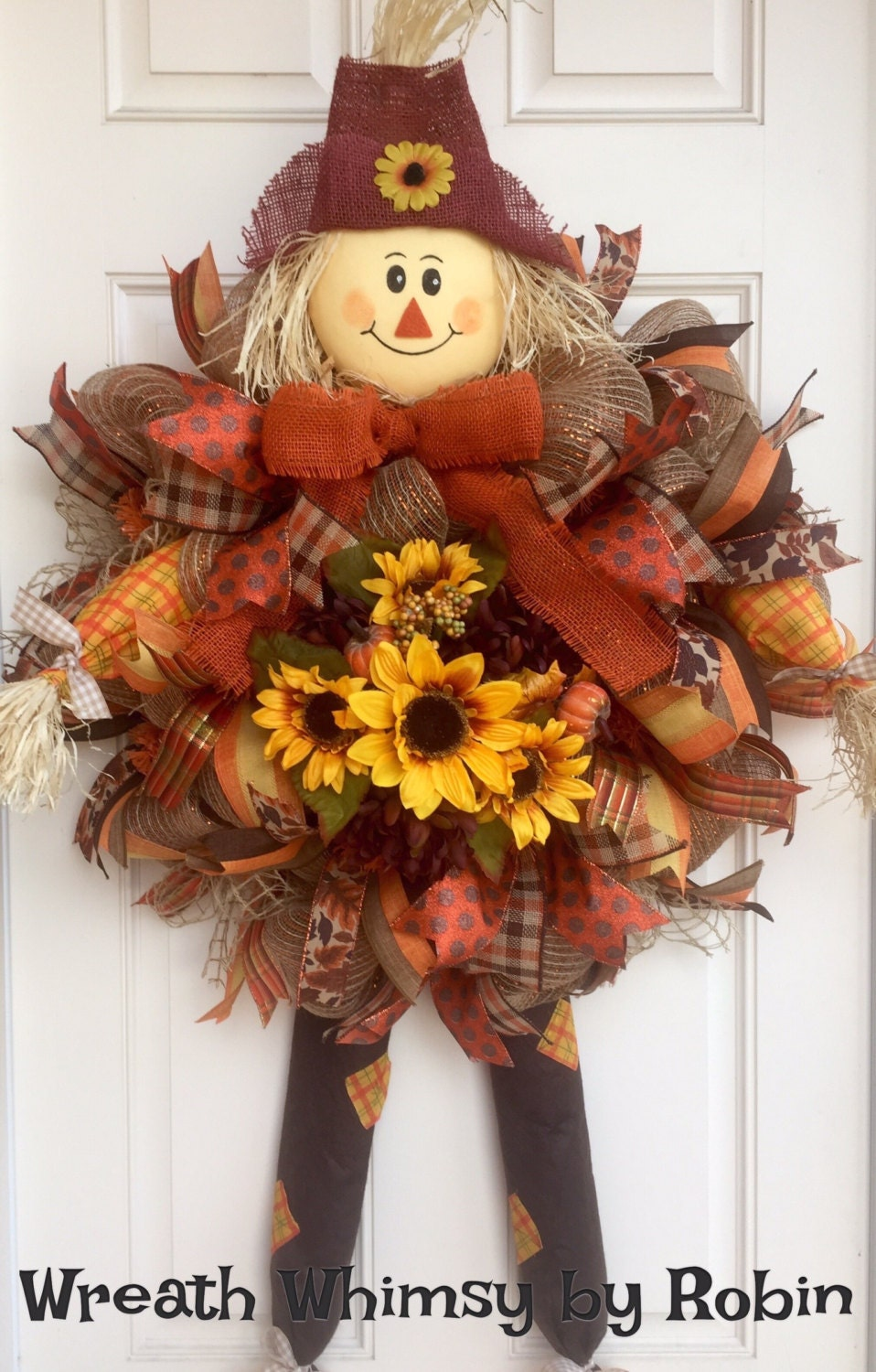 Fall burlap mesh scarecrow wreath with sunflowers autumn for Craft wreaths for sale