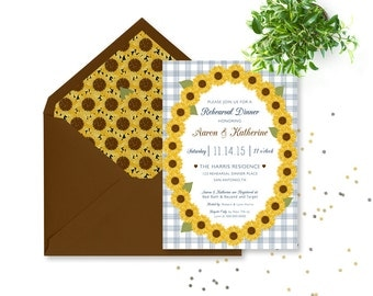 Sunflower Rehearsal Dinner Invitation Rustic, Country Rehersal Dinner Invites, Sunflower Rehersal Dinner Invitation, Wedding Rehearsal