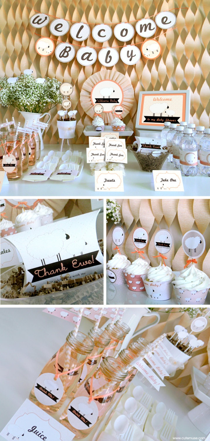 little lamb baby shower printable party package decorations