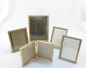 Set of 5 Small Vintage Gold Tone Metal Picture Frames Mixed Desk Top Double Frame Single Frame  ALifetimeofVintage