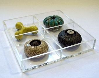 Raku Ceramics in Lucite Tray
