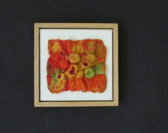 """Wool Felted Shibori Wall Art, Framed, 9"""" x 9"""" Overall Size (CE12)"""