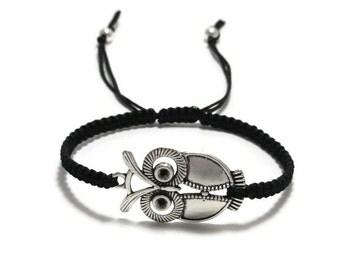 Owl Bracelet, Owl Macrame Bracelet, Owl Jewelry, Macrame Bracelet, Macrame Jewelry, Adjustable Bracelet, Braided Bracelet, Gift for Her