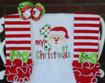Baby Girl My 1st Christmas Outfit! Santa Christmas outfit for baby girls/Girls Santa outfit/First Christmas outfit/Baby girl Santa outfit