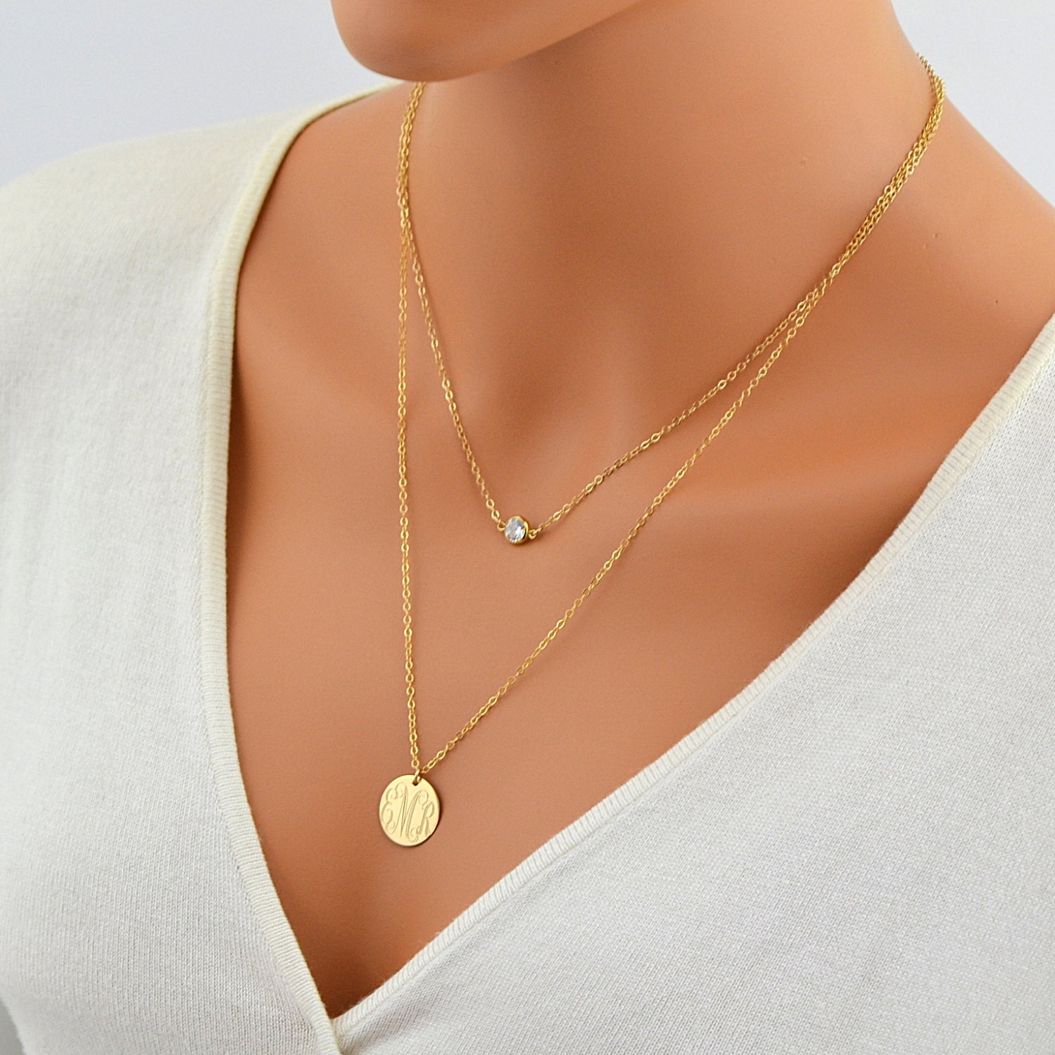 layered gold necklace delicate gold necklace monogram