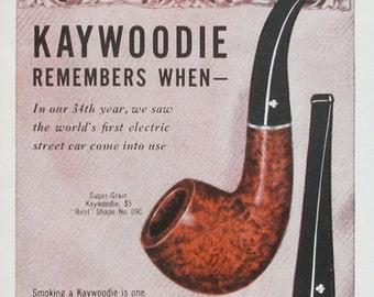 1947 Kaywoodie Pipe Ad - 1880s Electric Street Car Illustration - 1885 Train Trolley - Norman Price Art
