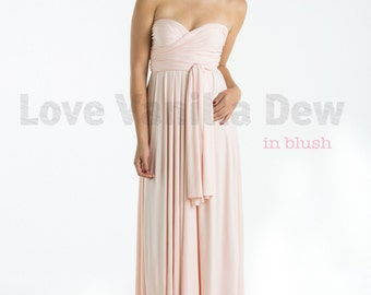 Bridesmaid Dress Infinity Dress Blush Floor Length Maxi Wrap Convertible Dress Wedding Dress