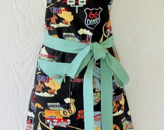 Retro Route 66 Apron , Vintage Style , Womens Full Apron , Americana , 50's Road Trip , Route 66 , KitschNStyle