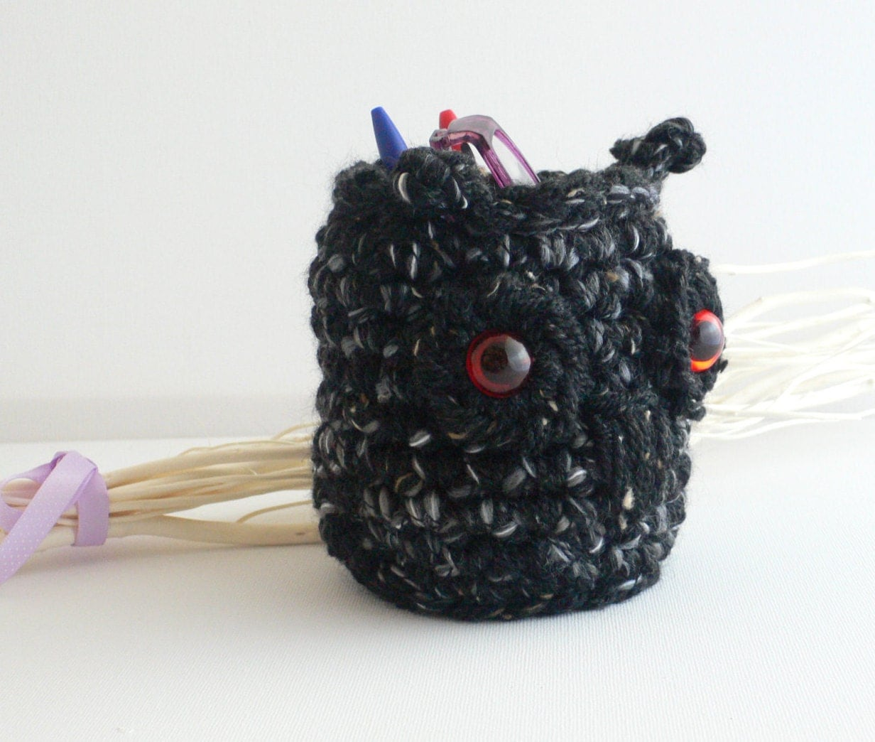 Crochet Owl Basket Desk Tidy Cell Phone Holder by RockingPony