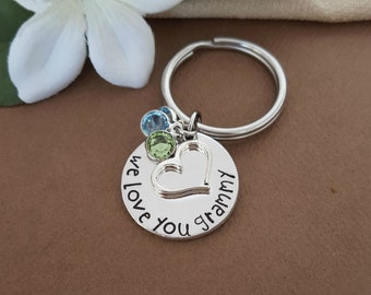 Grammy Birthstone Key Chain | Key Chain Gift For Grammy | We Love You Grammy | Grandmother Birthstone Keychain