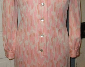 Vintage 1970s Abstract Dress - Pink & White - Size Small Medium - By Kimberly