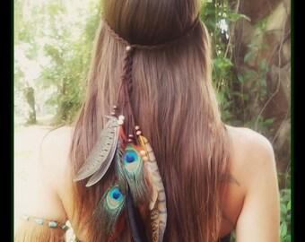 Kuyani, feather, headband, boho,  gypsy,  tribal, costume,  music, festival, headress, hair, acesessories, wedding, bohemian,