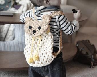 Crochet Bear Backpack pattern, sac for babies and kids, Crochet baby shower gift, baby registry, diaper bag, handmade gift Instant download