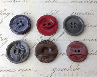 6 Large Celluloid Coat Buttons 23 mm