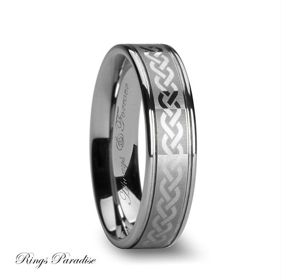 Celtic ring tungsten celtic wedding bands celtic by for Tungsten celtic wedding ring