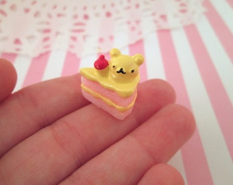 Miniature Pink Layer Cake Cabochons with a Cherry and a Bear, #157b