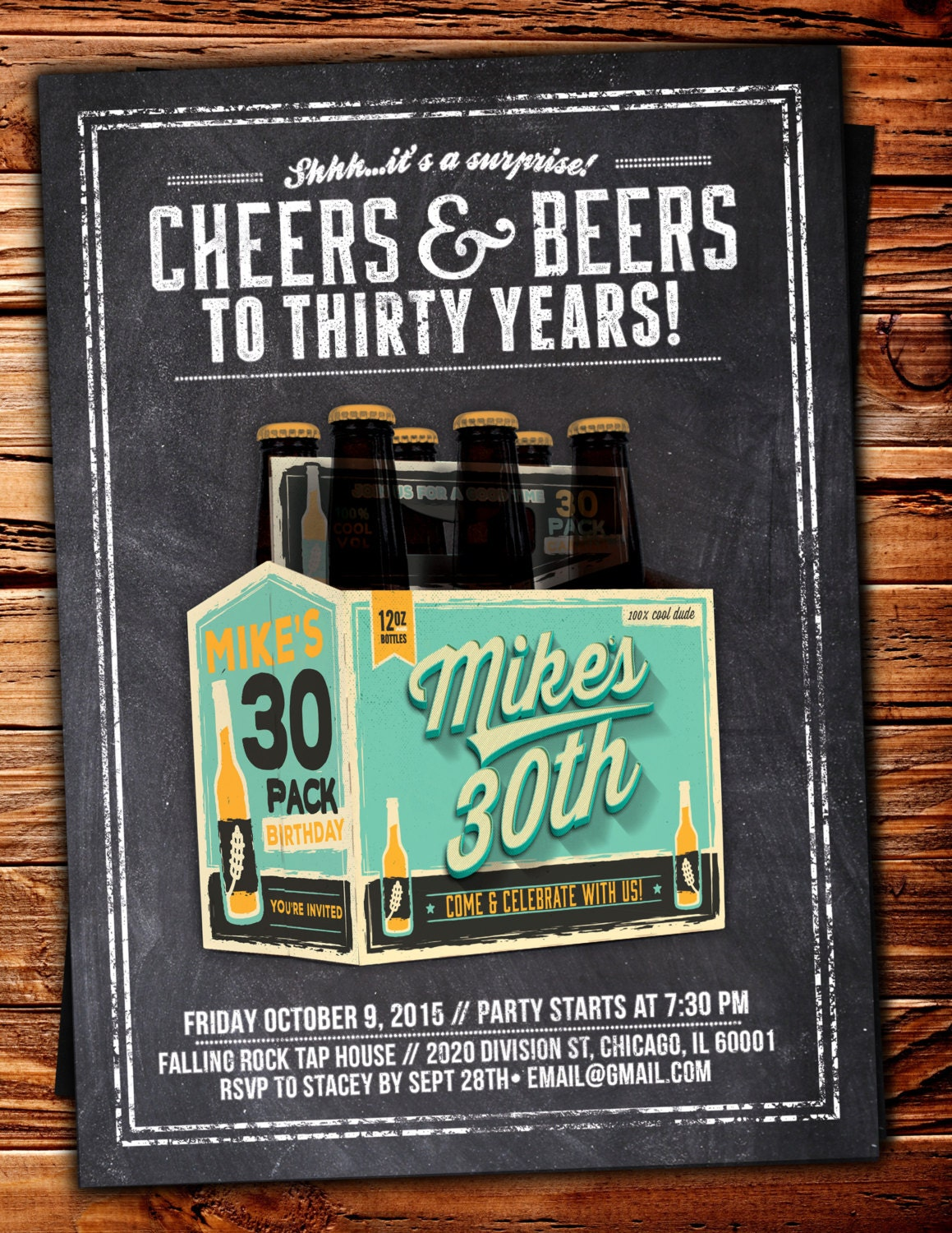 ANY AGE Cheers and Beers invitation beer 21st 30th 40th 50th – 70th Surprise Birthday Party Invitations