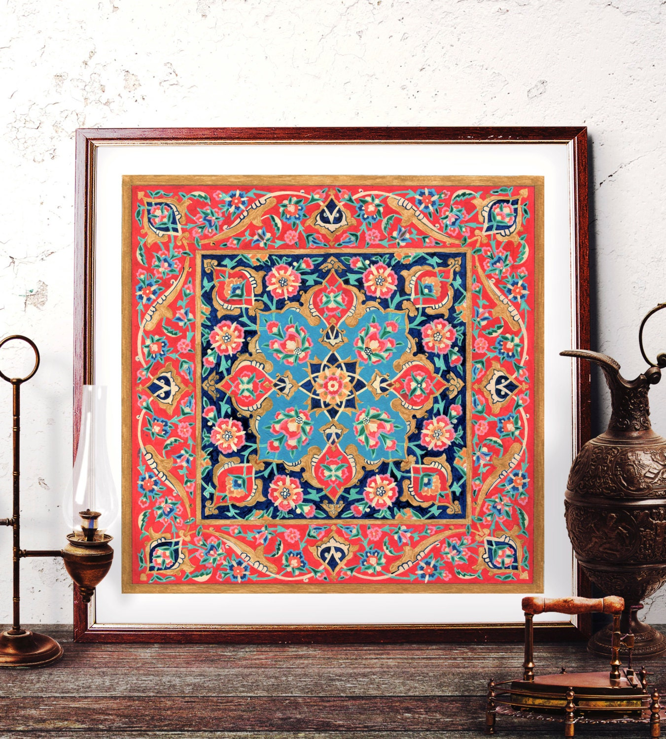 Traditional Turkish Tile Wall Art Ottoman Floral Watercolor